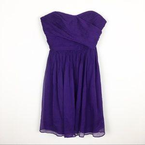 J. Crew Purple Strapless Silk Dress Sz 4